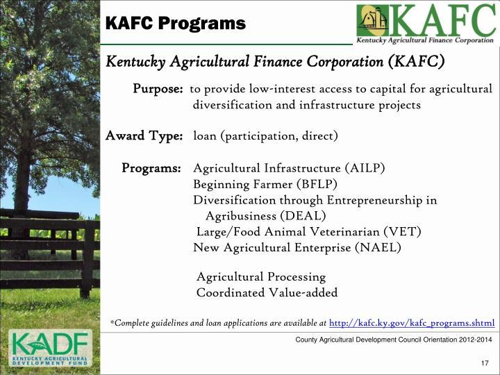 KAFC Programs