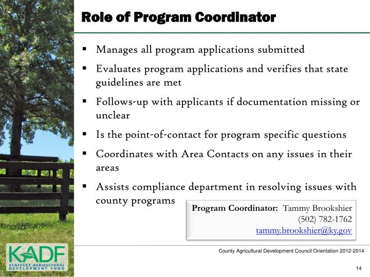 Role of Program Coordinator