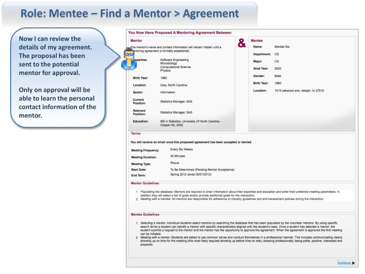 Role: Mentee – Find a Mentor > Agreement