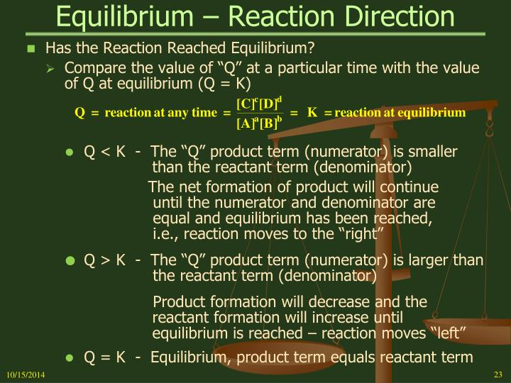 Equilibrium – Reaction Direction
