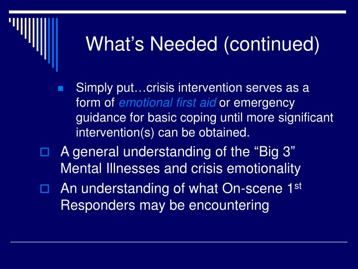 What's Needed (continued)