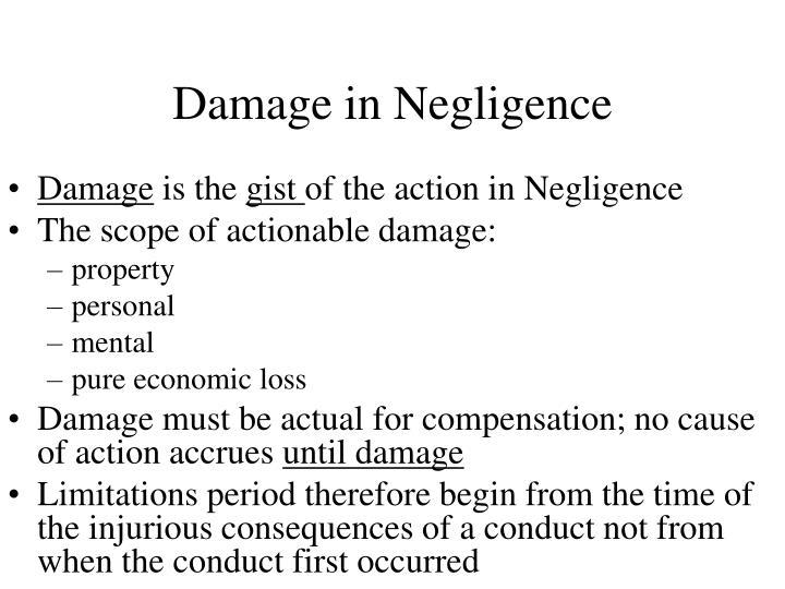 Damage in Negligence