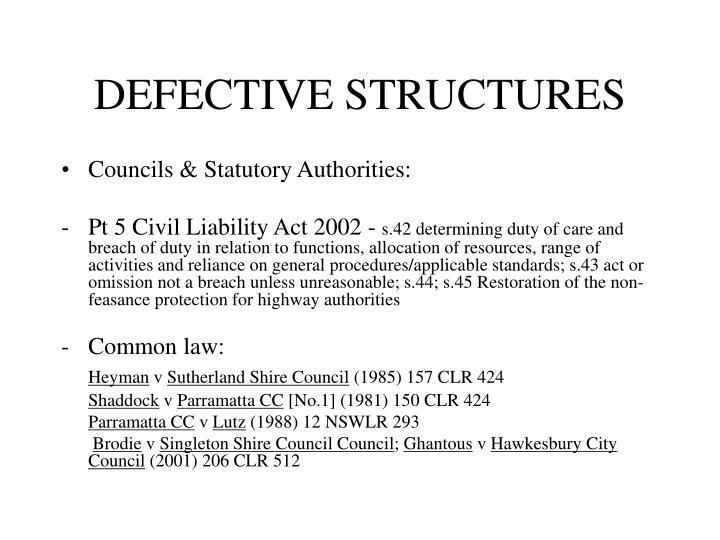 DEFECTIVE STRUCTURES