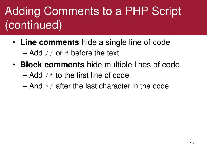Adding Comments to a PHP Script (continued)