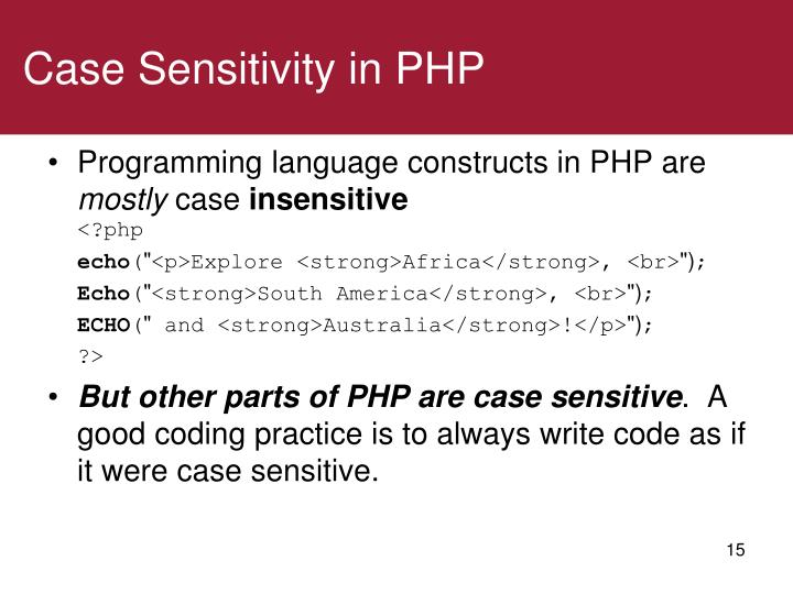 Case Sensitivity in PHP