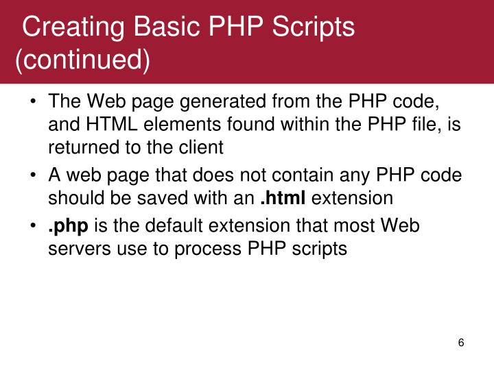 Creating Basic PHP Scripts (continued)