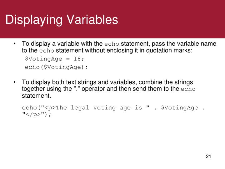 Displaying Variables