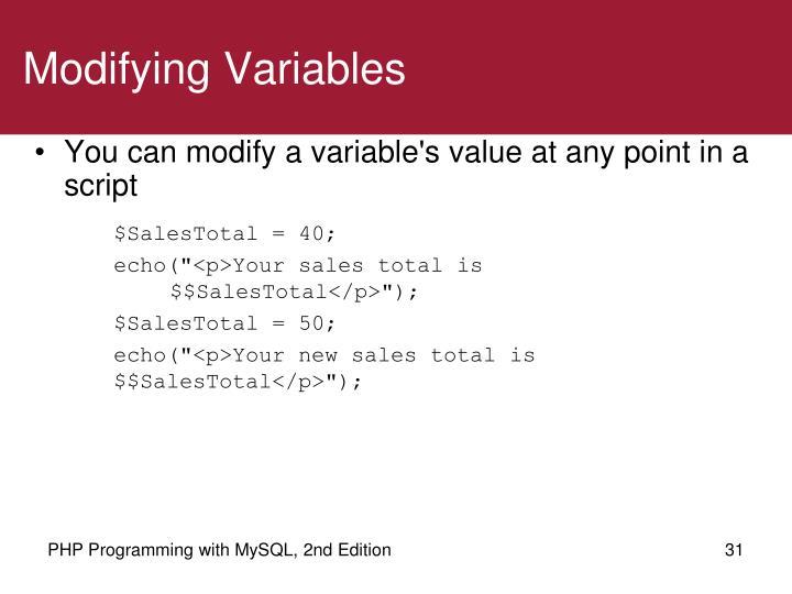 Modifying Variables