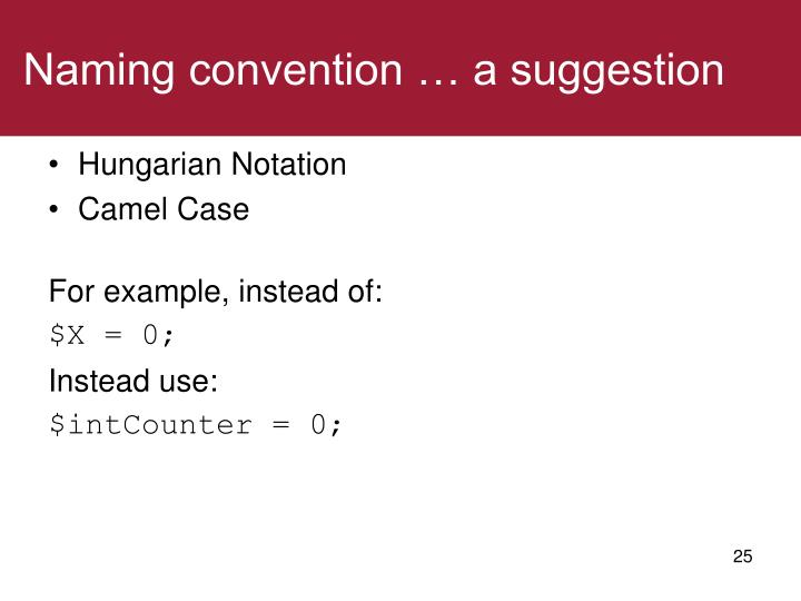 Naming convention … a suggestion