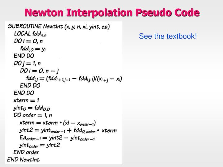 Newton Interpolation Pseudo Code