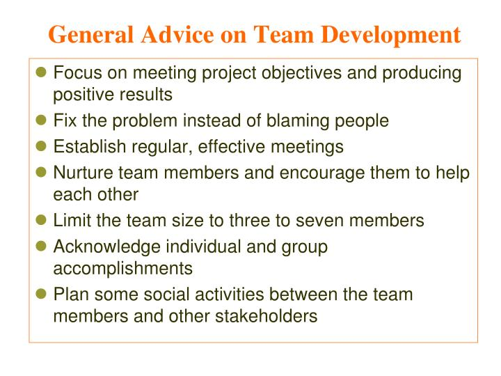 General Advice on Team Development