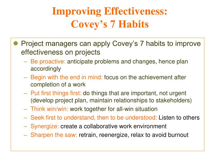 Improving Effectiveness: