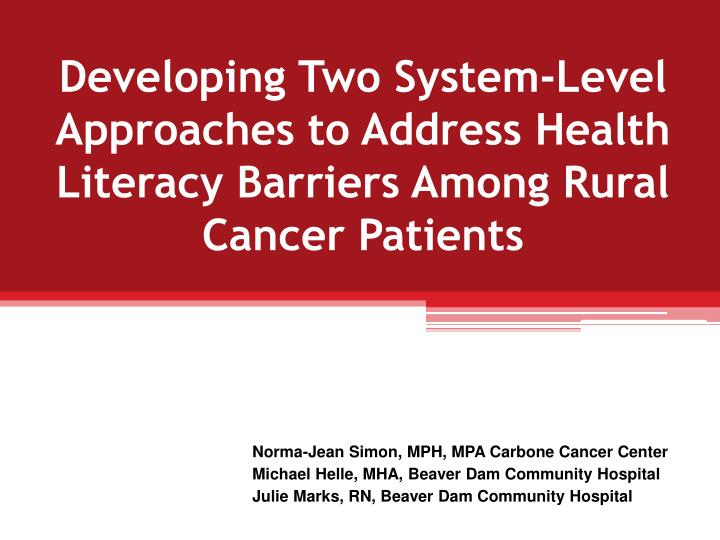 Developing Two System-Level Approaches to Address Health Literacy Barriers Among Rural Cancer Patien...