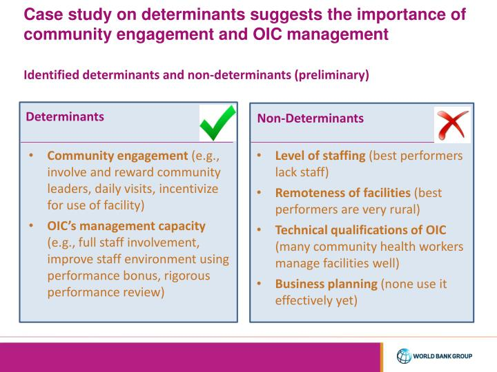 Case study on determinants suggests the importance of community engagement and OIC management