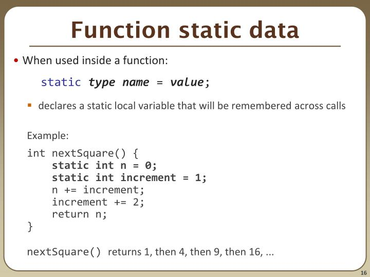 Function static data