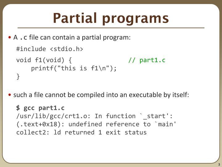 Partial programs