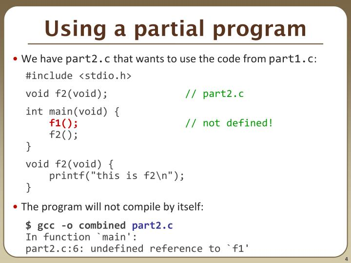 Using a partial program