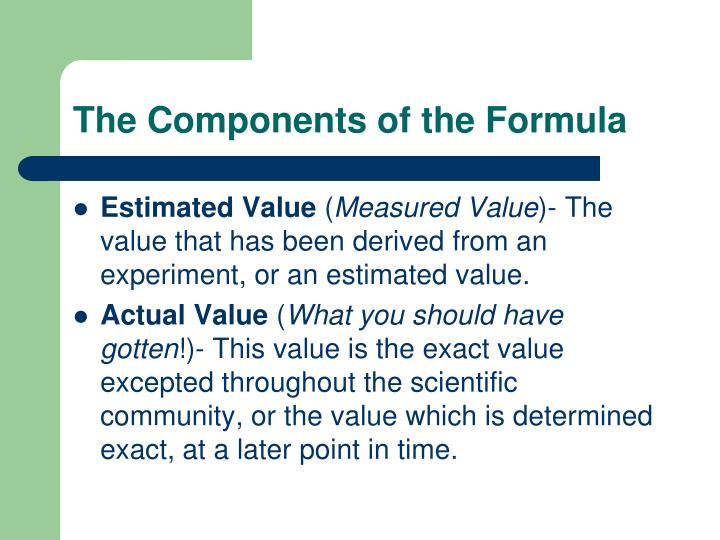 The Components of the Formula