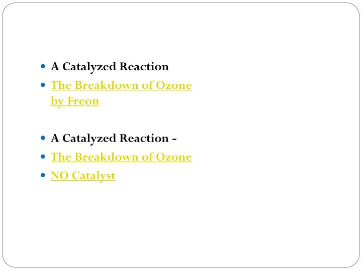 A Catalyzed Reaction