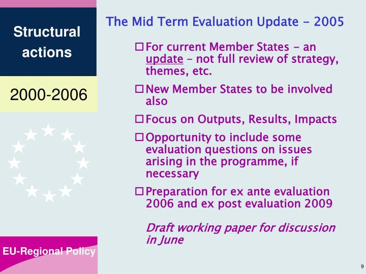 The Mid Term Evaluation Update - 2005