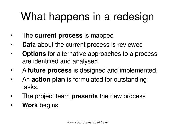 What happens in a redesign
