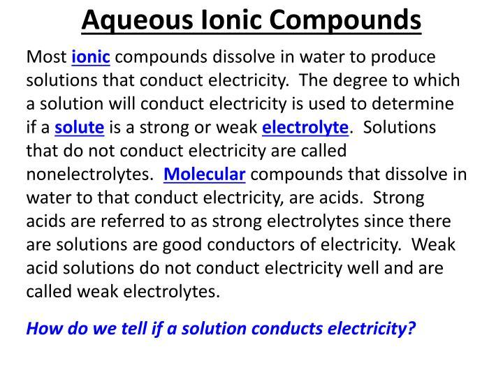 Aqueous Ionic Compounds