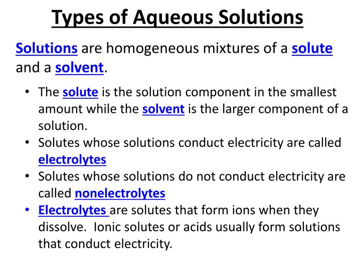 Types of Aqueous Solutions
