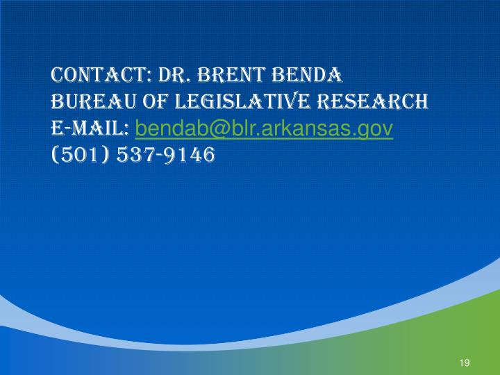 Contact: Dr. Brent Benda