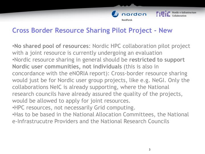 Cross Border Resource Sharing Pilot Project - New