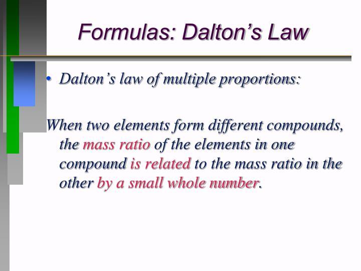 Formulas: Dalton's Law
