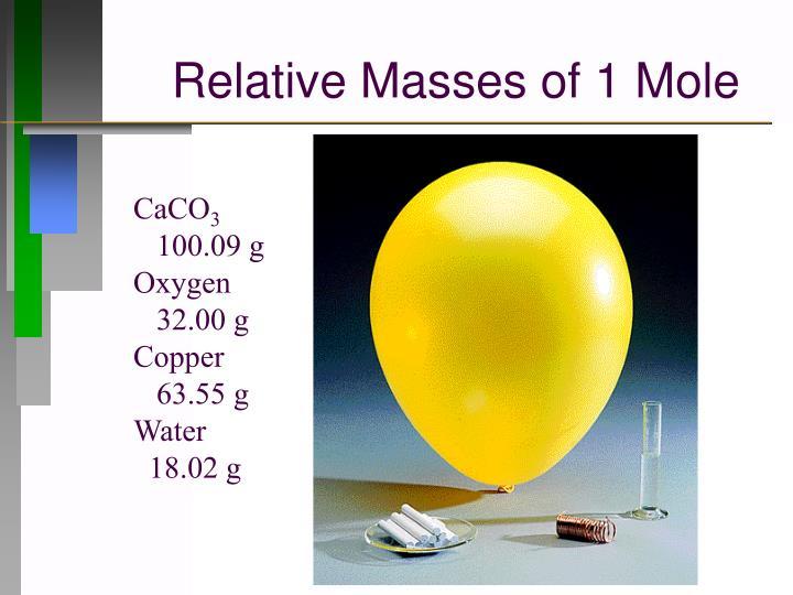 Relative Masses of 1 Mole