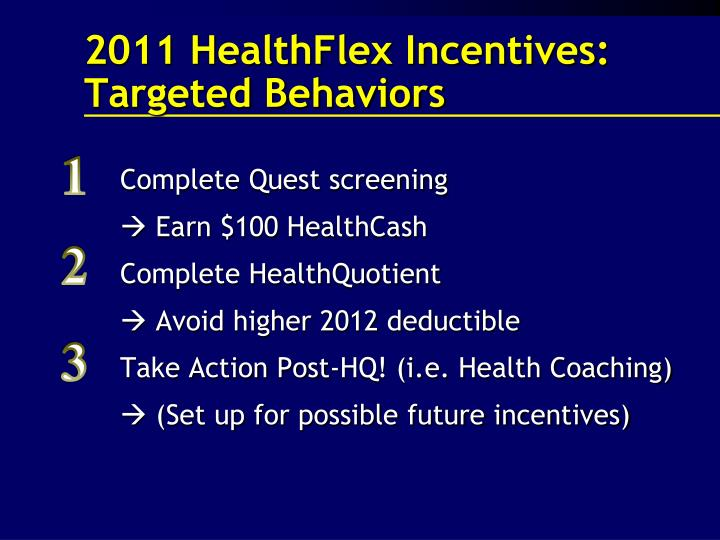 2011 HealthFlex Incentives: Targeted Behaviors