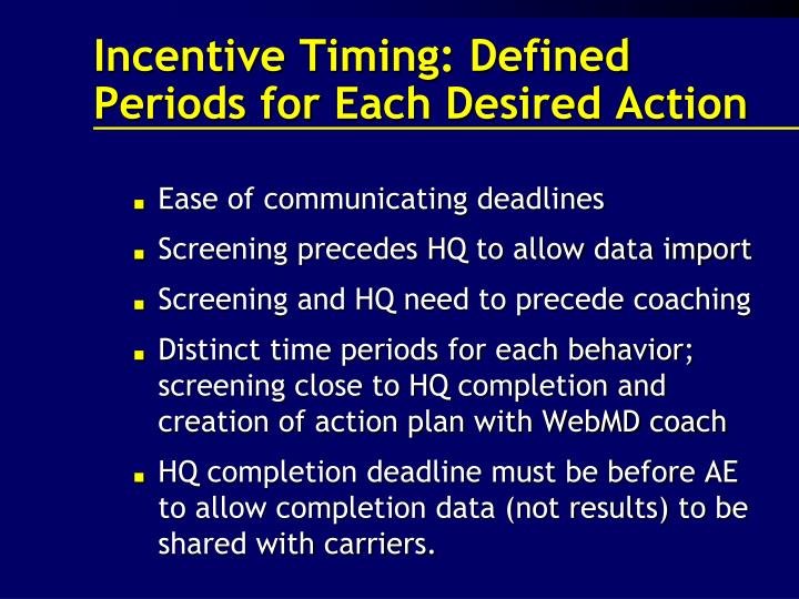 Incentive Timing: Defined Periods for Each Desired Action