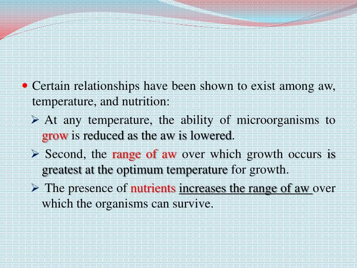 Certain relationships have been shown to exist among aw, temperature, and nutrition: