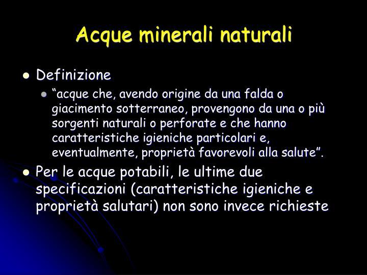 Acque minerali naturali