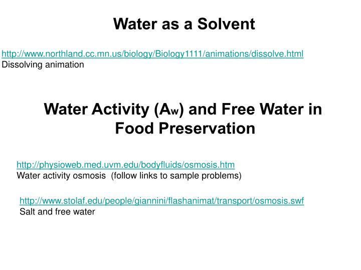 Water as a Solvent