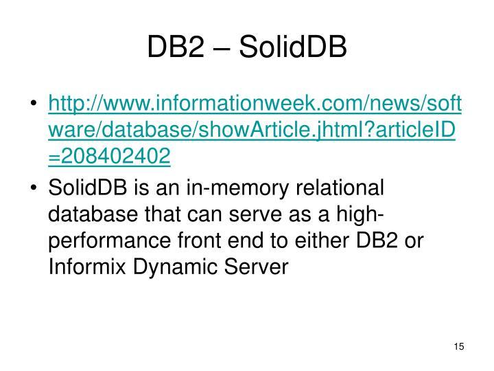 DB2 – SolidDB