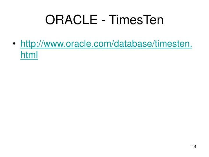 ORACLE - TimesTen