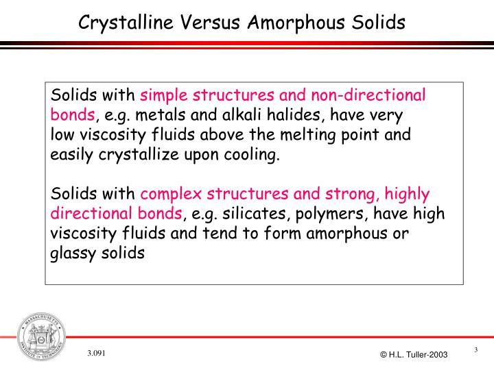 Crystalline Versus Amorphous Solids