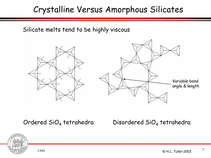 Crystalline Versus Amorphous Silicates
