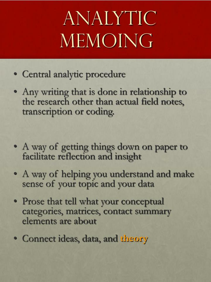 Analytic Memoing