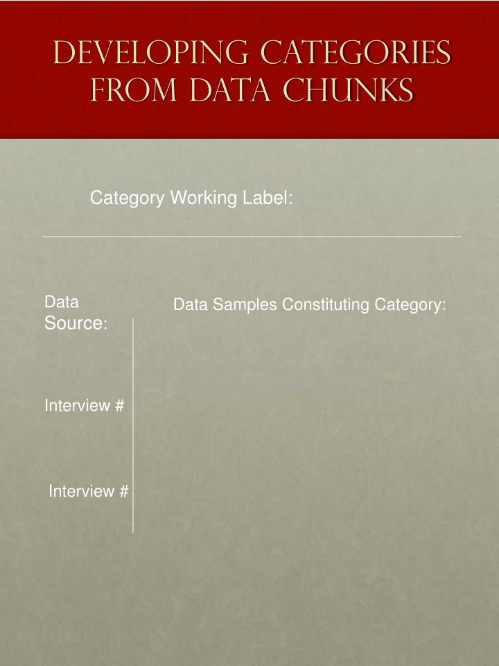 Developing Categories From Data Chunks