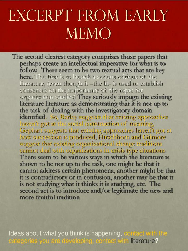 Excerpt from early memo