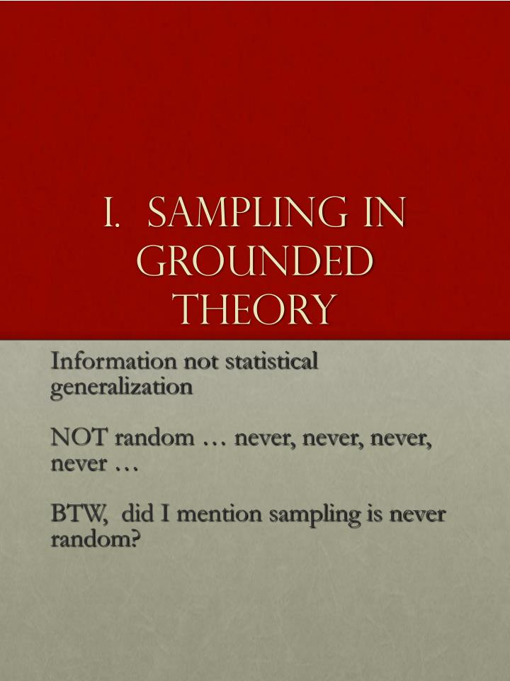 I.  Sampling in Grounded Theory