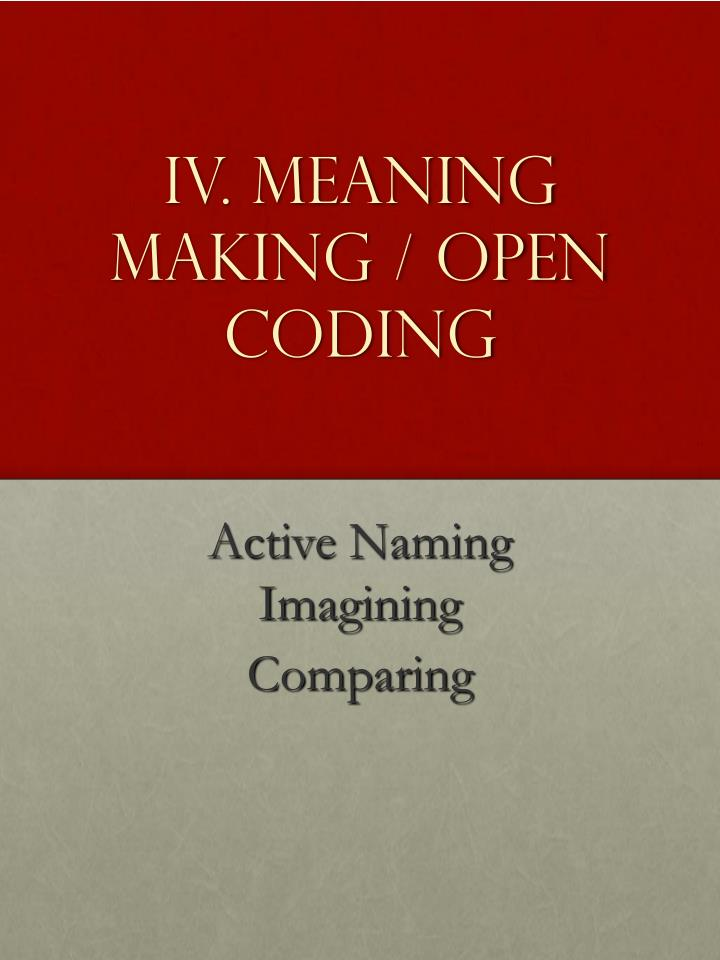 IV. Meaning Making / Open Coding