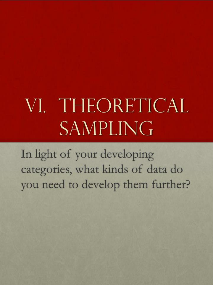 VI.  Theoretical Sampling