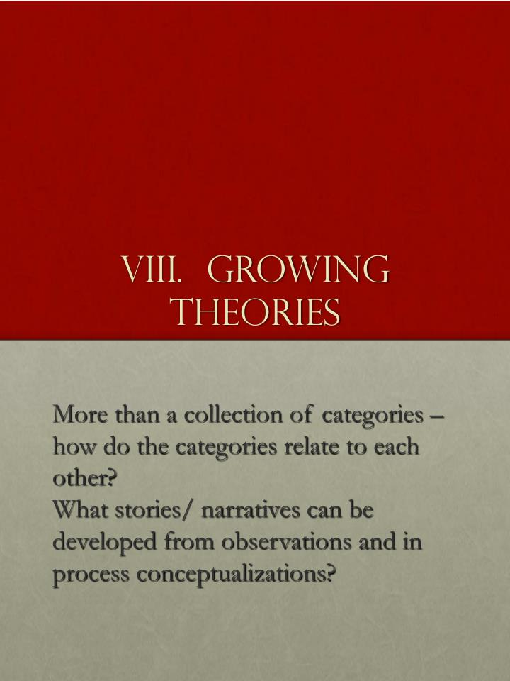 VIII.  Growing Theories