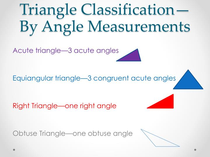 Triangle classification by angle measurements
