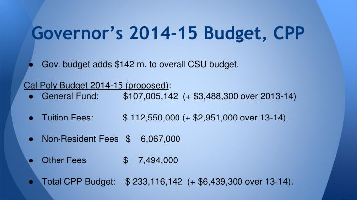 Governor s 2014 15 budget cpp