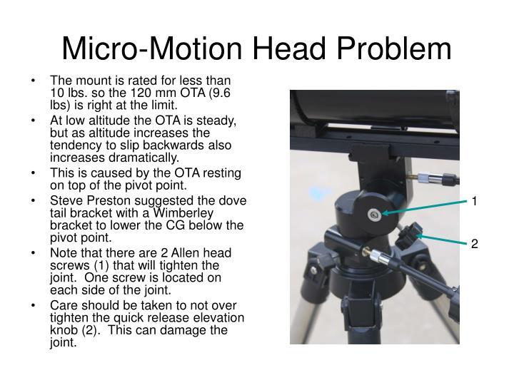 Micro-Motion Head Problem